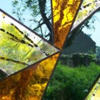 'Fragments'. A stained, coloured and leaded small panel. 2009